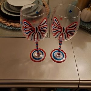 Pier 1 red white and blue wine glasses